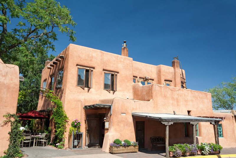 Modern Adobe Restaurant in Santa Fe, New Mexico, United States